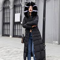 Куртка зимняя женская черная, длинный пуховик 40 (S) СС-8495-10