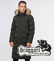 Куртка на меху удлиненная зимняя молодежная Braggart Youth - 25590 13-25 лет темно-зеленая