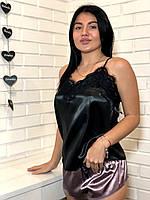Атласный комплект черная майка и шорты