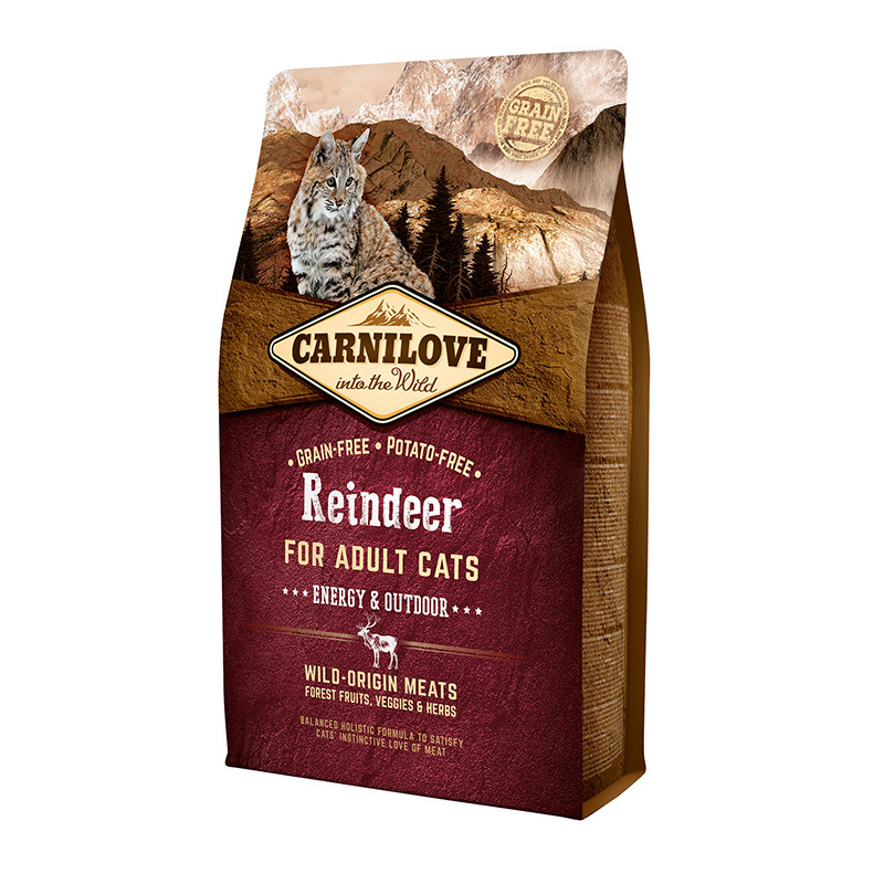 Carnilove Cat Raindeer Energy & Outdoor 0.4 кг, с мясом северного оленя для взрослых активных кошек