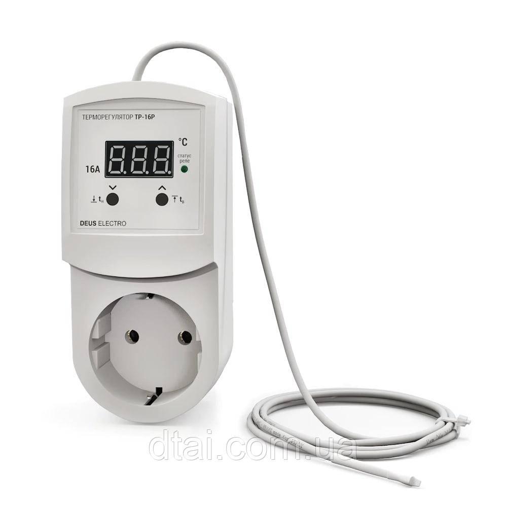 Терморегулятор в розетку с датчиком температуры 16А 3 кВт (с заземлением)