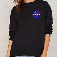 Свитшот черный Nasa logo | Кофта стильная