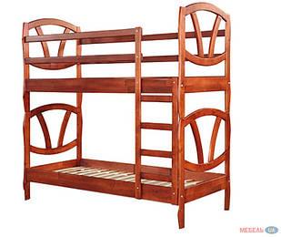 Ліжко двоярусне в дитячу кімнату з дерева Зефір 90*200  трансформер Sovinion