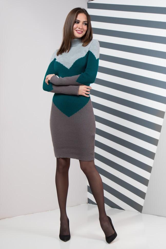 Теплое вязаное платье для офиса на каждый день Эльза, 44-48