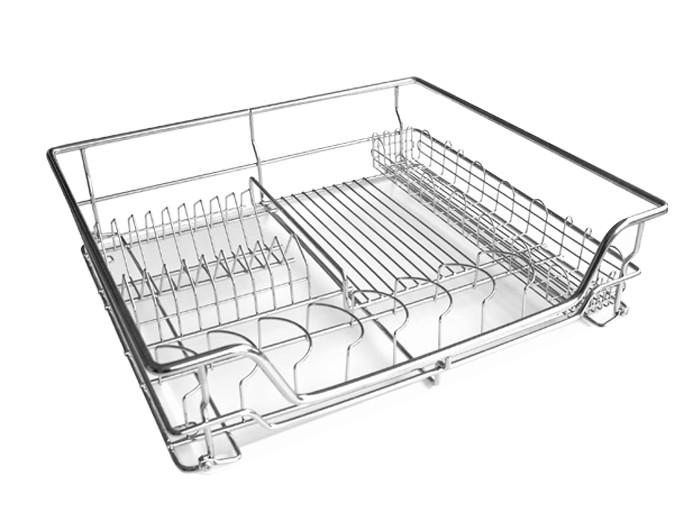 Сушка для посуду фасад 600 висувна з дотягувачем GIFF хром (1 полиця та 1 піддон)