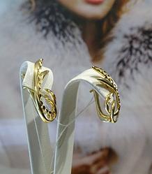 Рельефные золотые серьги