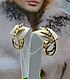 Рельефные золотые серьги, фото 2