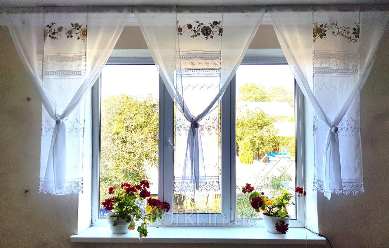 Комплект панельных шторок с розами, 2,5м