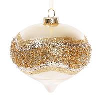 Елочное украшение в форме луковицы с декором 10см, цвет - шампань перламутр, набор 4 шт