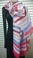 Красивый  шарф палантин   из хлопка  в полоску- белая , красная , голубая