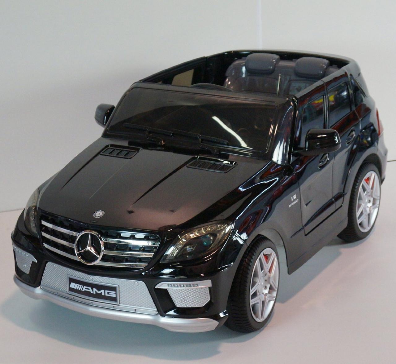 Детский Электромобиль Mercedes-Benz ML 63 EBRS черный, пульт Bluetooth 2.4G, колеса EVA, автопокраска