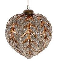Елочное украшение в форме луковицы с декором 10см, цвет - коричневый с серебром, набор 4 шт