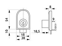 Замок меблевий для скляних дверей накладний GIFF 408 хром, фото 1
