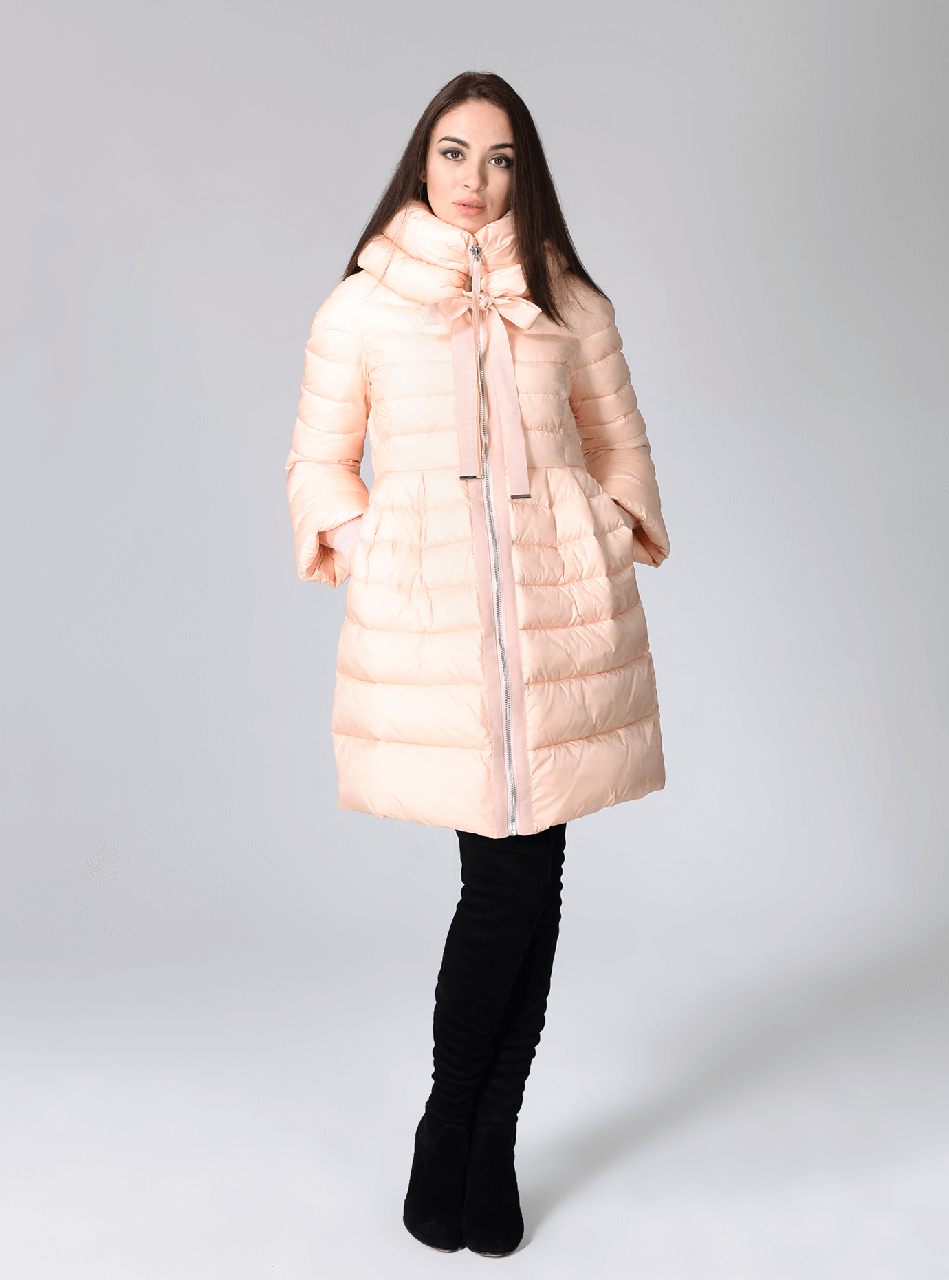 Элегантная зимняя куртка Сlasna CW17D135CW персикового цвета (#130)