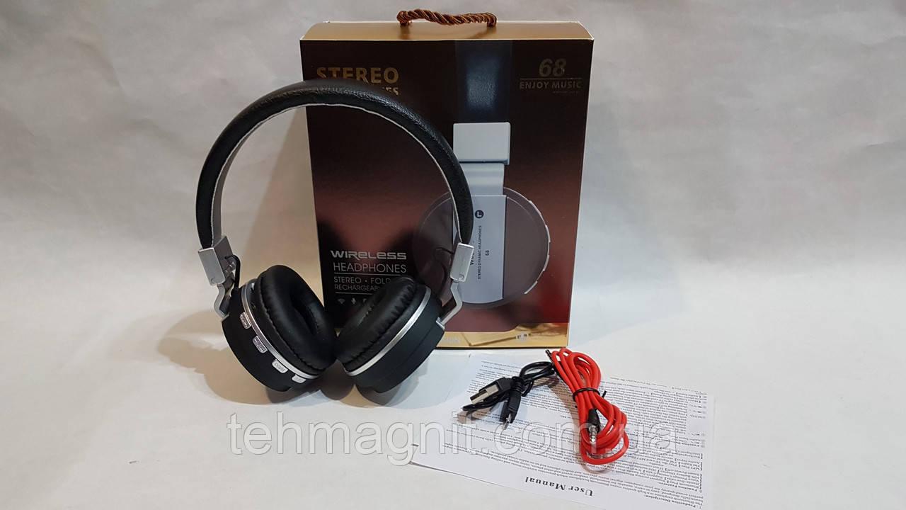 Бездротові навушники Bluetooth стерео гарнітура 68 FM/MP3