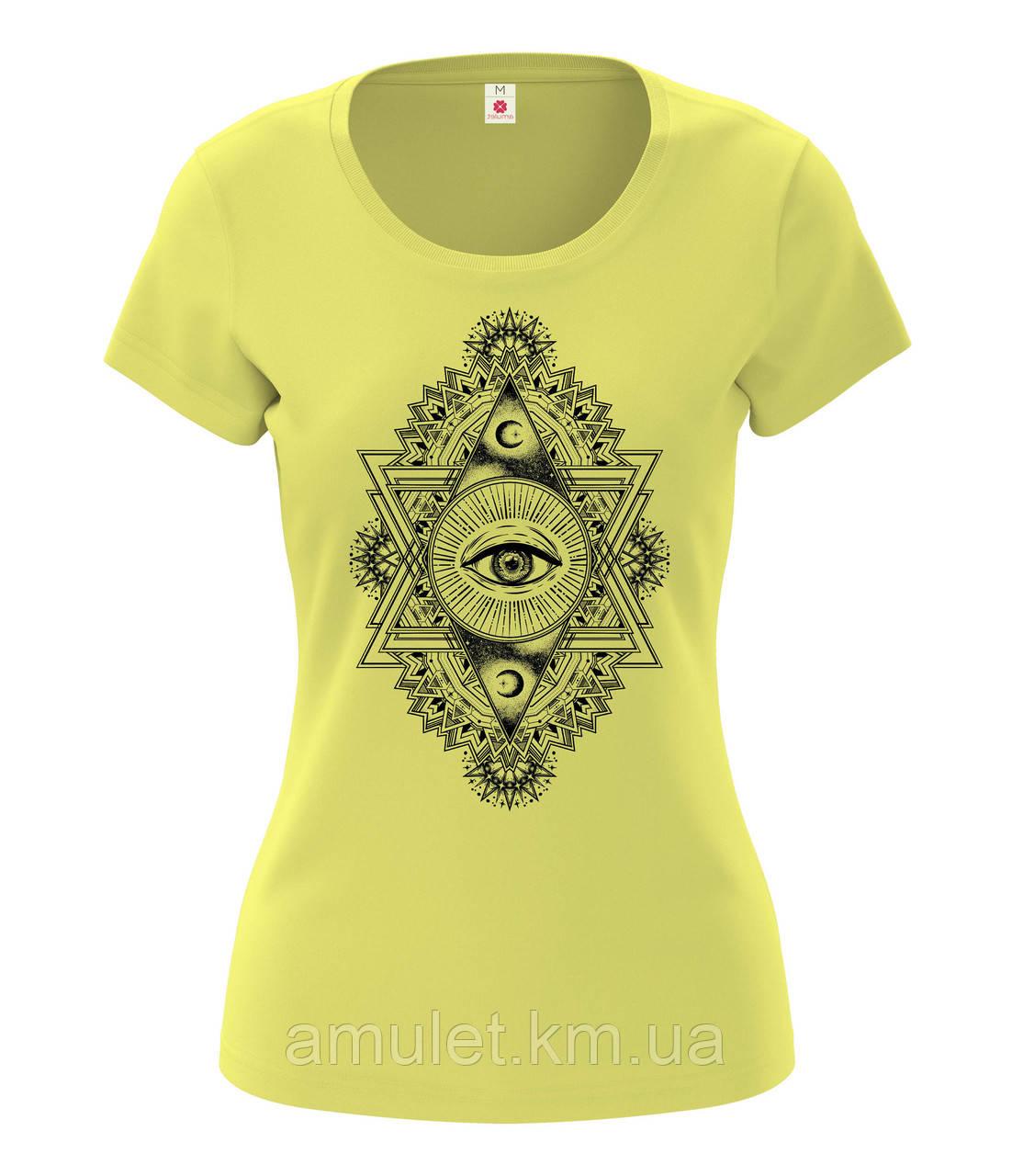 "Футболка женская ""Третий глаз"" жёлтый, S"