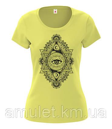 """Футболка женская """"Третий глаз"""" жёлтый, S, фото 2"""