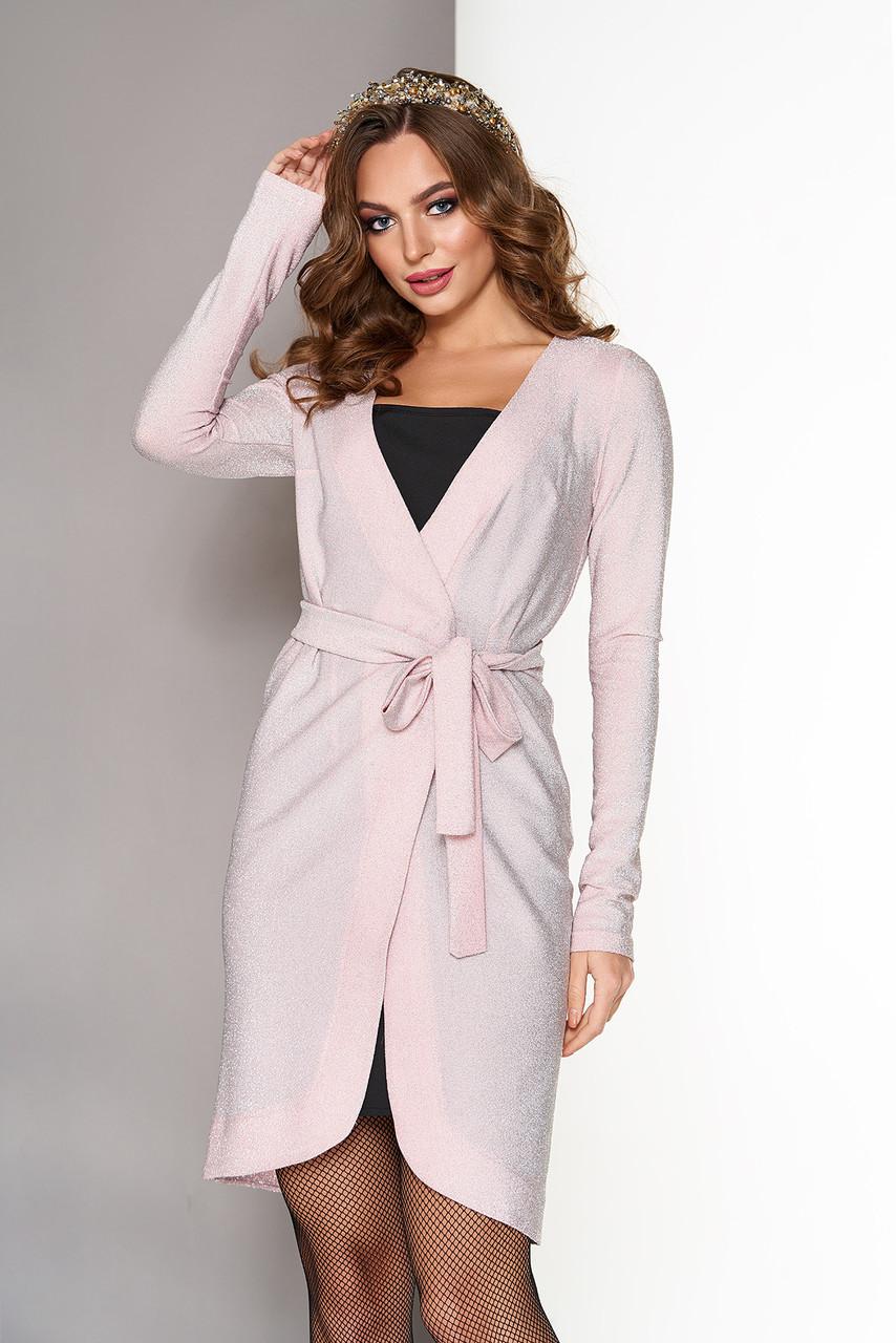 Нарядное платье с запахом в бельевом стиле персик