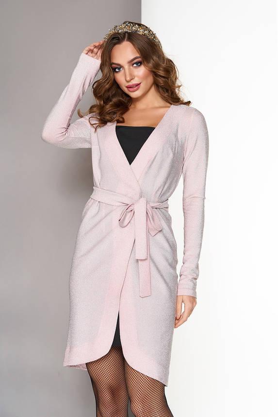 Нарядное платье с запахом в бельевом стиле персик, фото 2