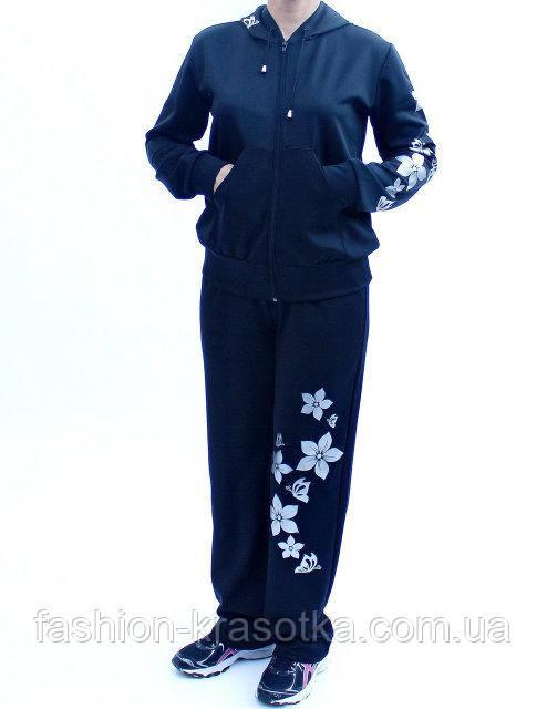 Женский спортивный костюм с узором :Цветы,размеры 46-64