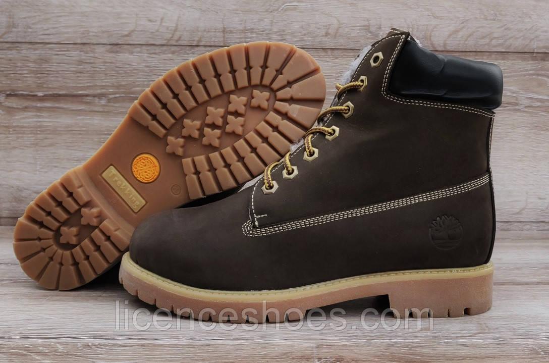 Женские коричневые зимние ботинки Timberland Brown. Натуральный мех и кожа. Последняя пара 38 на стопу 24-24.5