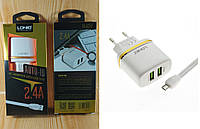 Сетевое зарядное устройство LDNIO DL-AC52 Micro USB USB 2.4а White (Fast Charge) блок + шнур