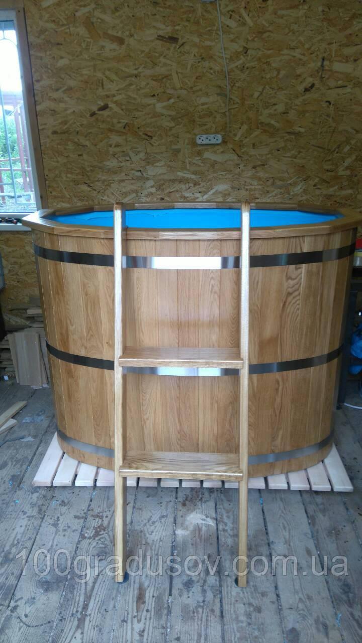 Бочка купель овальная SaunaLux (140х80 см, 500 л) с полипропиленовой вставкой