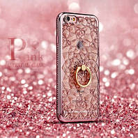 Силиконовый чехол накладка Pink Crystal кристалы с кольцом для айфон IPhone 6 / 6S
