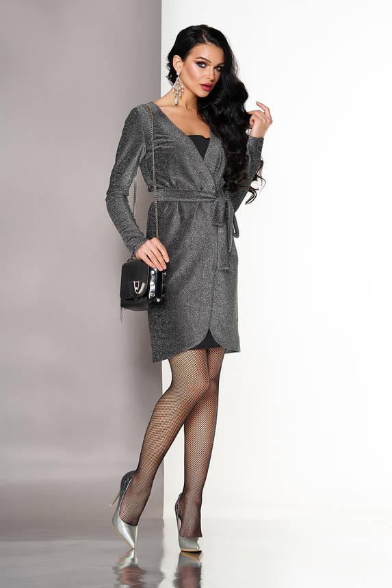 Нарядное платье с запахом в бельевом серое, фото 2