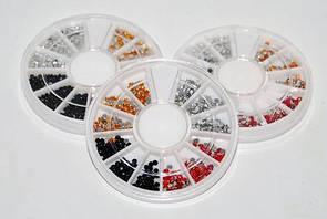 Контейнер-карусель маленькие камни стразы микс 1 для дизайна ногтей женский маникюр YRE \ 08.01