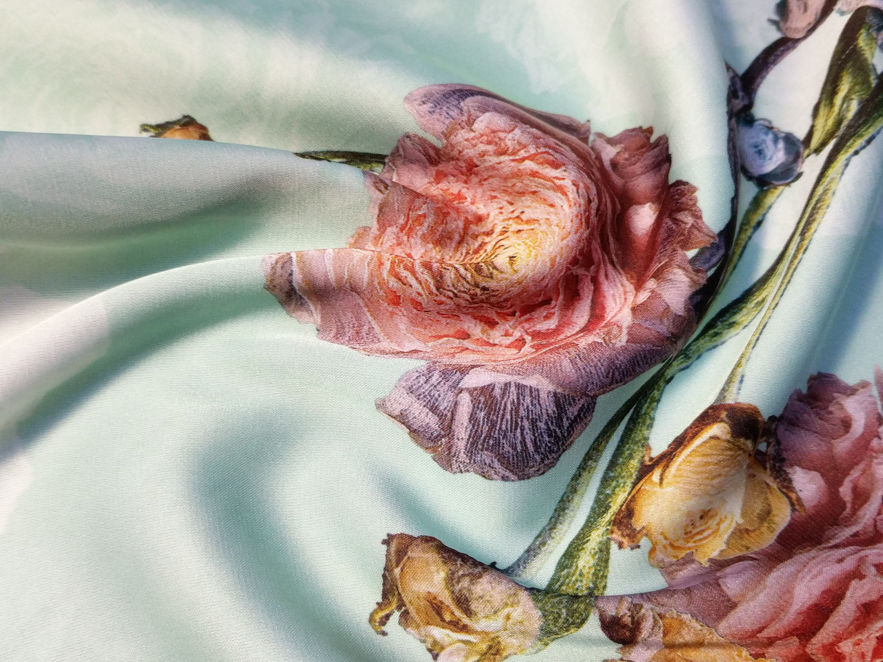 Шелк сатин крупный цветок, ментол