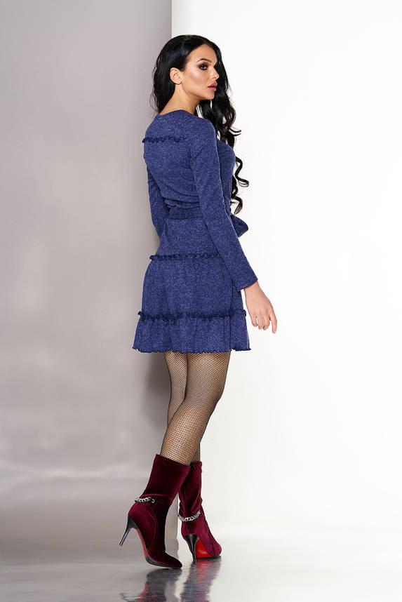 Красивое трикотажное платье с рюшами синее, фото 2