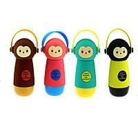 Термос обезьянка в наушниках, 4 цвета