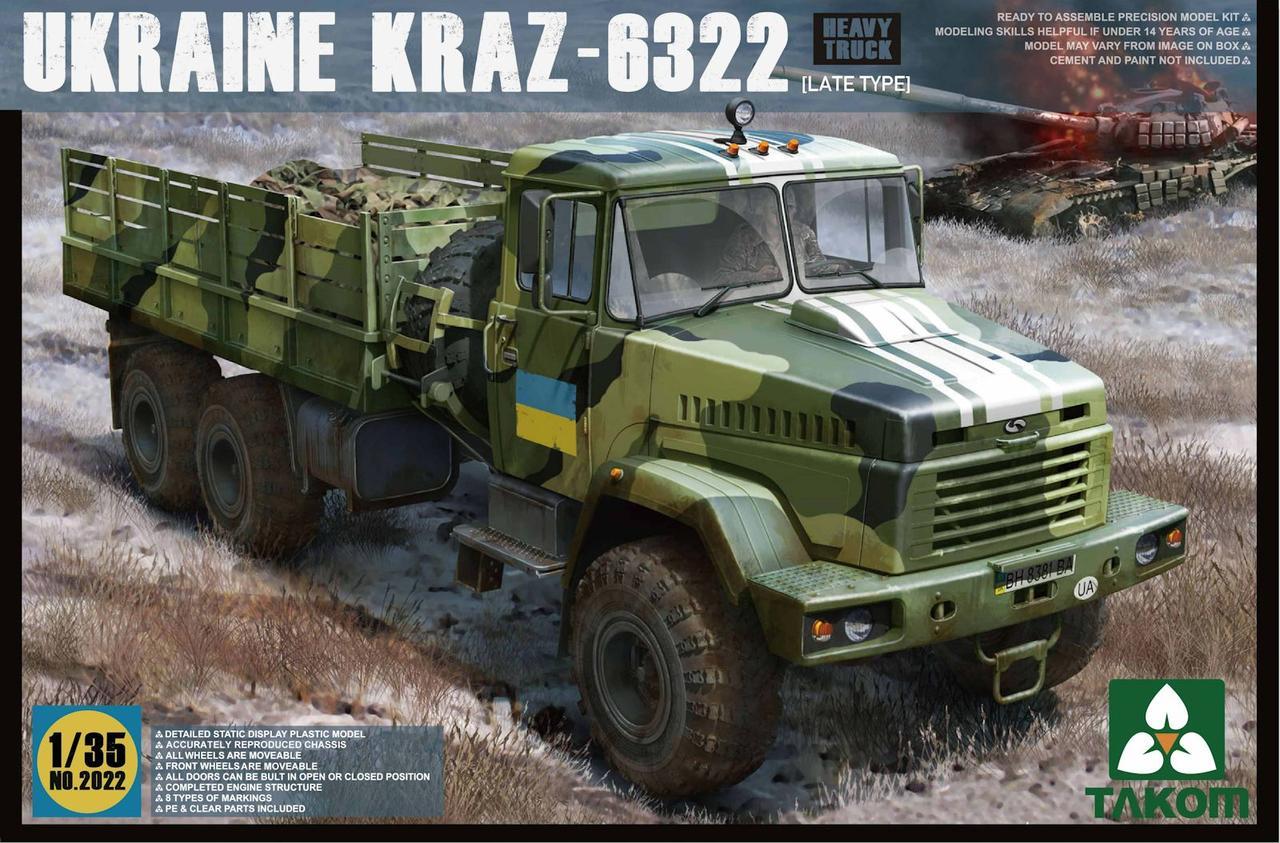 Украинский грузовой бортовой автомобиль КрАЗ-6322, поздний тип. Сборная модель в масштабе 1/35. TAKOM 2022
