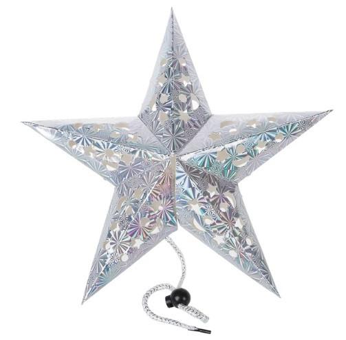 """Новогодняя гирлянда серебристая 3D """"Звезда"""" - диаметр 30см, картон"""