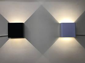 Фасадный светодиодный уличный светильник двухсторонний  DH028 3W белый IP54 Код.59398, фото 3