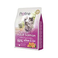 Profine Cat Derma 300 г лосось и рис, профайн для длинношерстных кошек