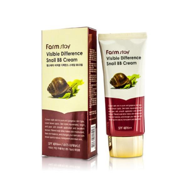 Восстанавливающий ББ крем с экстрактом слизи улитки Farm Stay Visible Difference Snail BB Cream SPF 50 , 50 мл
