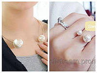 Набор украшений: Кольцо + Колье, украшенный жемчужинами