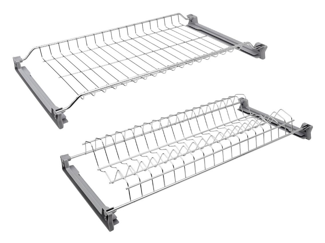 Сушка для посуду фасад 600 INOXA 701 нержавіюча сталь (2 полиці та 4 кріплення)