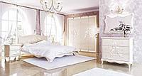 Спальня Роза - кровать, тумба, комод, шкаф (белый супермат)