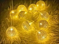 Гирлянды декоративные Cotton Balls 10led, диам 6см, длина 180см на батарейках АА