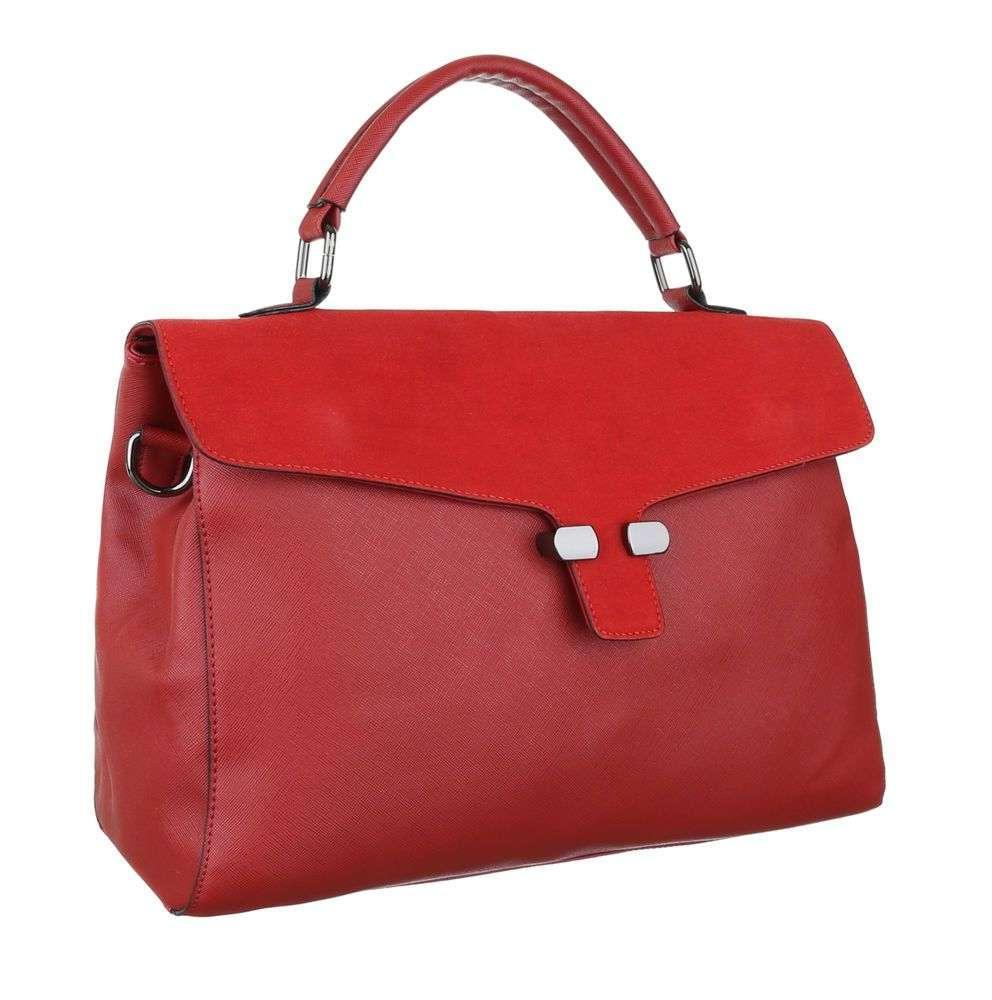 Женская сумка портфель комбинированная с замшей (Европа) Красный