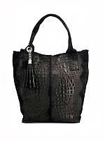 Сумка шоппер женская Vera Pelle (2201) кожаная черная, фото 1