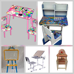 Детская мебель: парты - растишки, мольберты, столики и стульчики детские