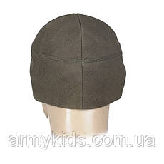 Детская шапка теплая Альпинист флис WINDBLOCK цвет олива, фото 3