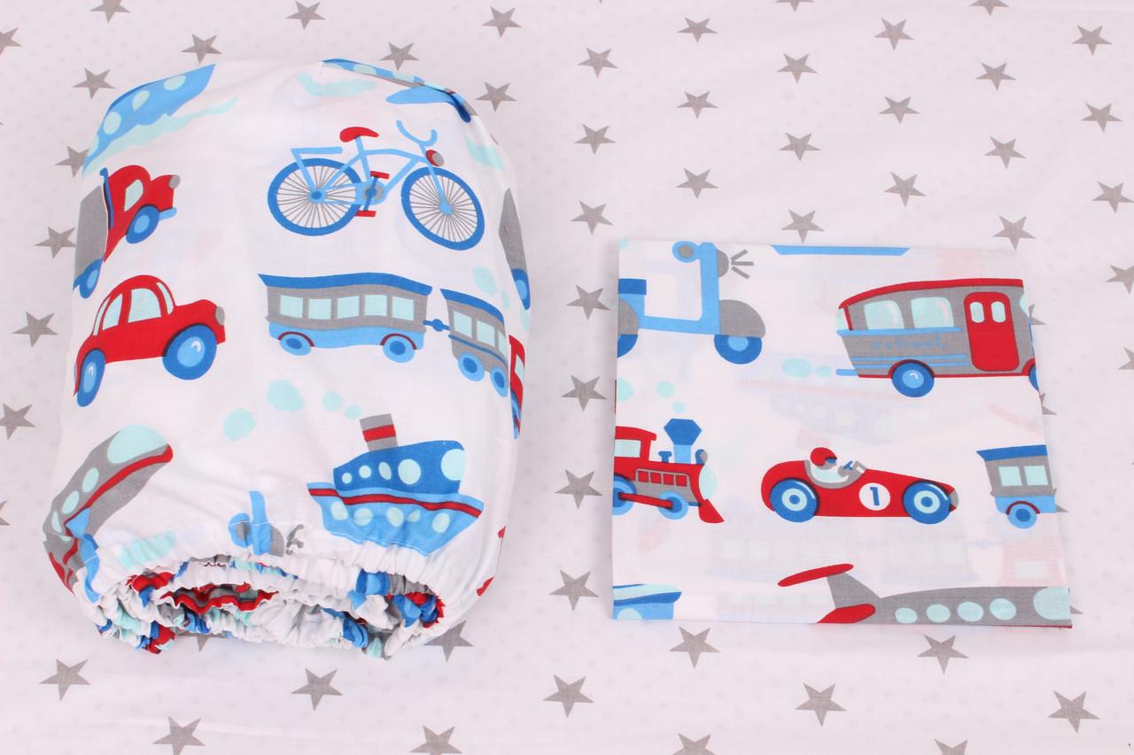 Постельное белье в детскую кроватку транспорт на белом