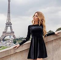 Велюровое расклешенное платье бархатное, фото 1