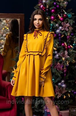 Платье мини свободный с рюшами