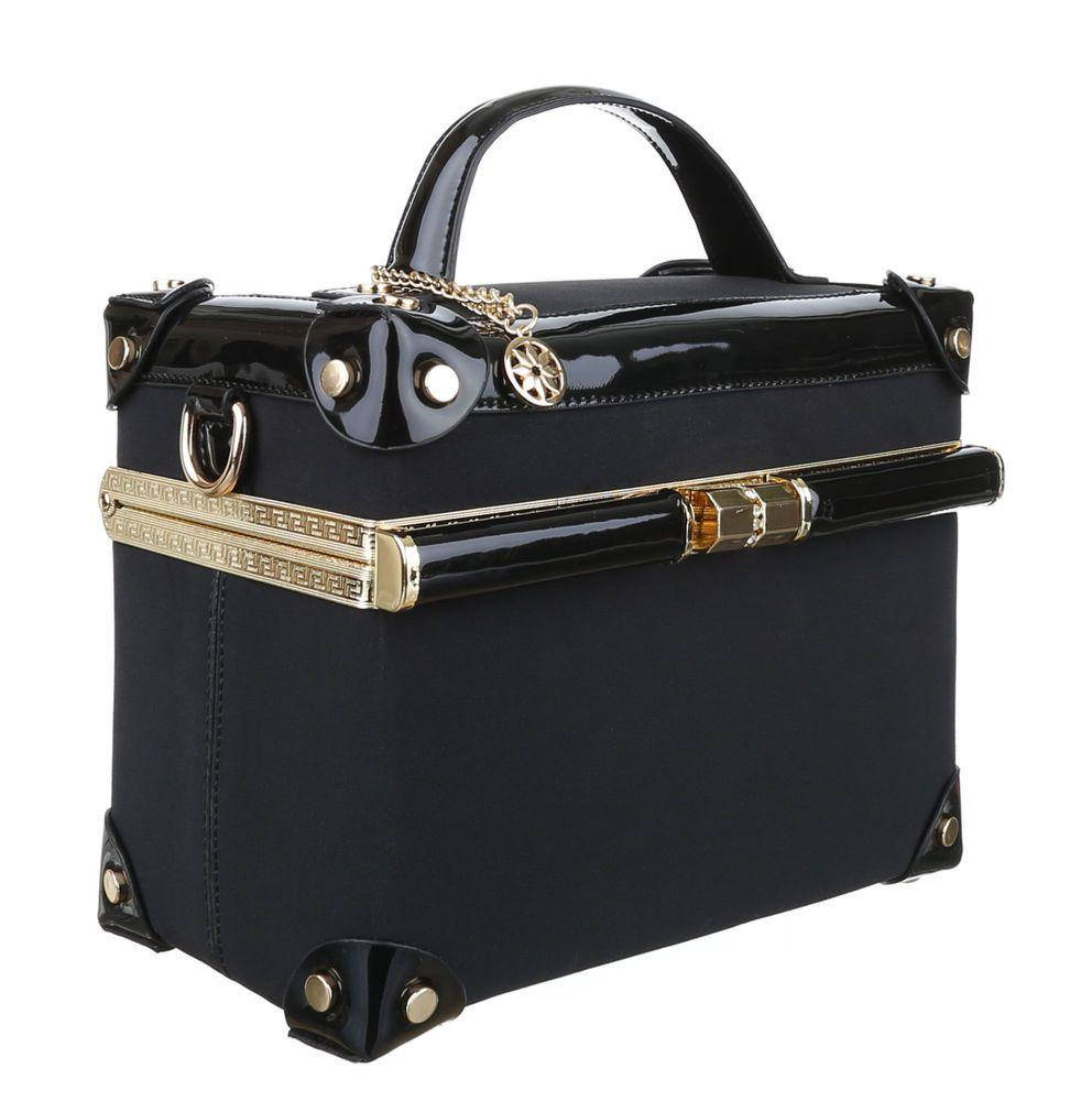 Квадратная сумка коробка с лакированной кожей Dudlin (Италия) Черный